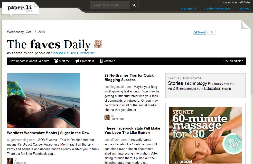 Twitter News Paper li created from a Twitter List of Shauna Casey