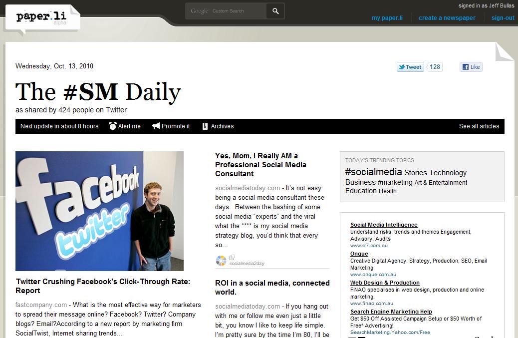 Twitter Newspaper Hash Tag Edition Paper.li