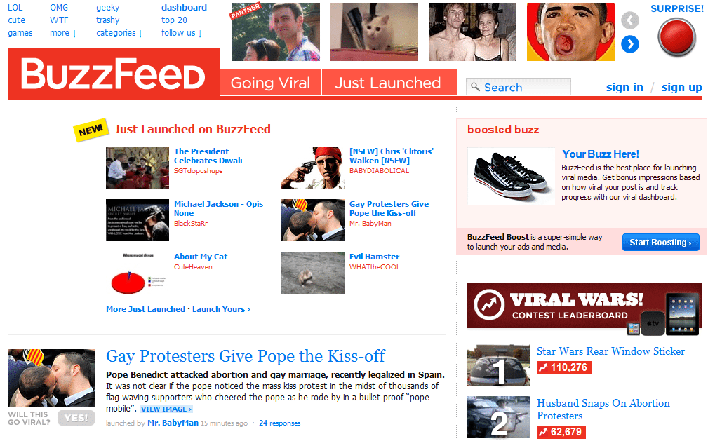 Buzz Feed a website for tracking viral content on the web