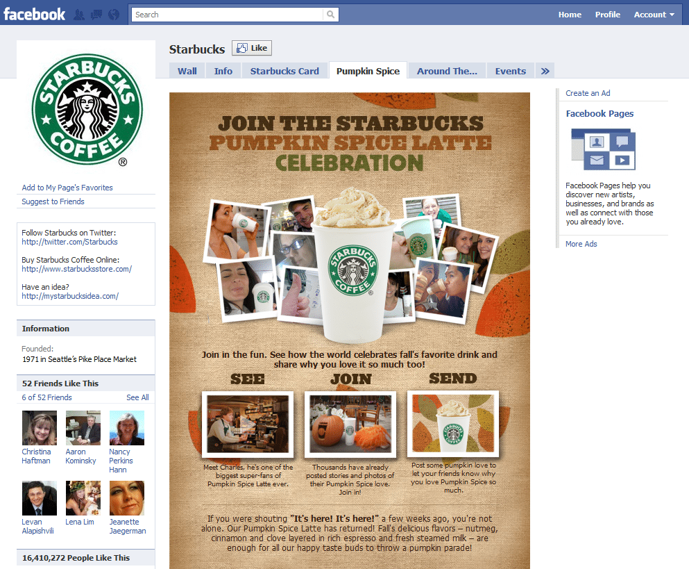 Facebook Page 10 Starbucks