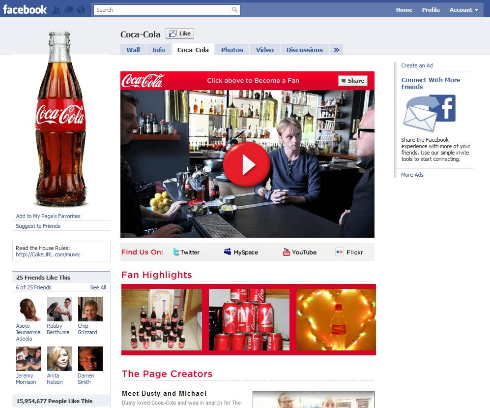 Facebook Page Top 10 Company Brand Coca Cola