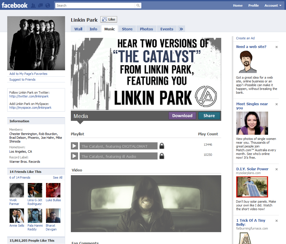 Facebook Page 15 Linkin Park