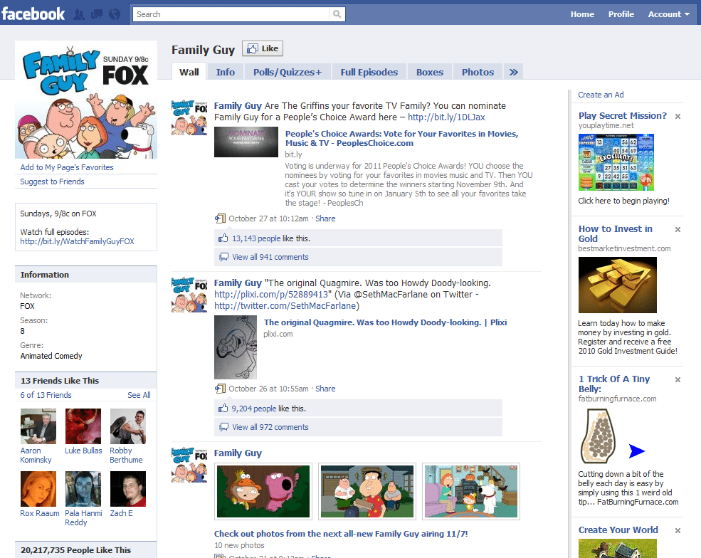 Facebook Page 5 Family Guy