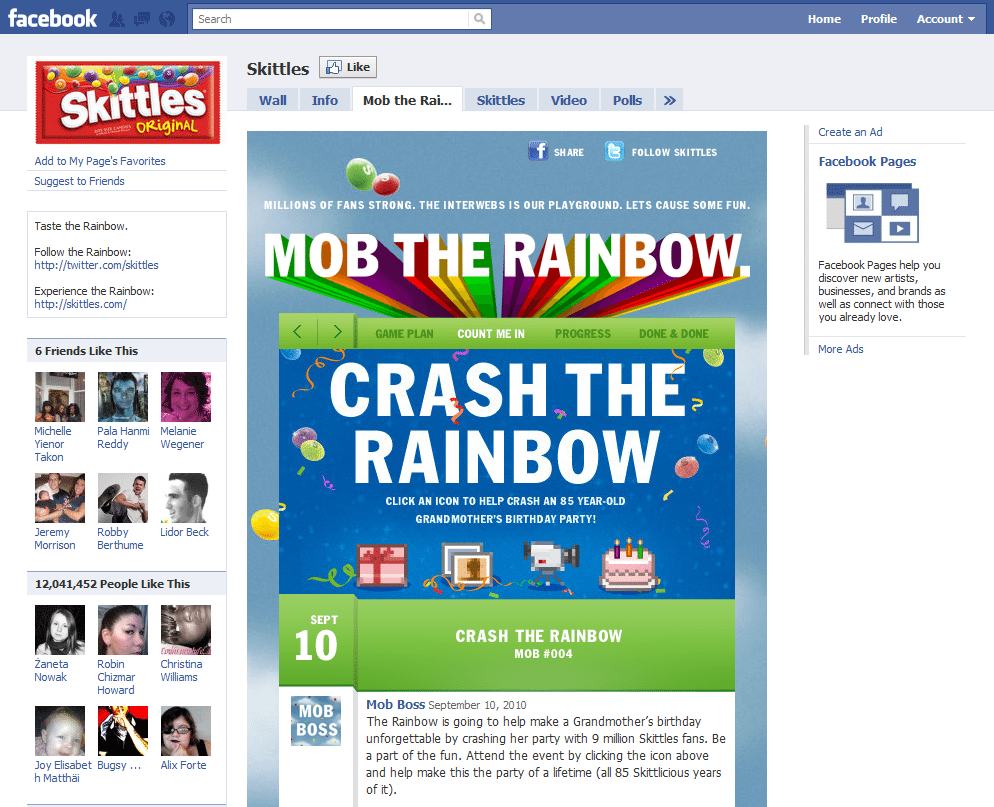Facebook Page Top 10 Brand and Company Skittles
