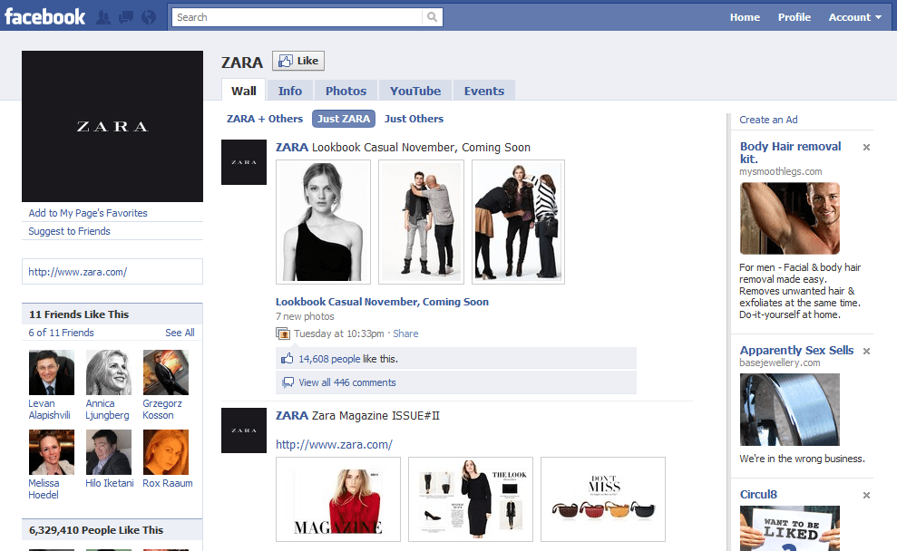 Facebook Page Top 10 Brand and Company Zara