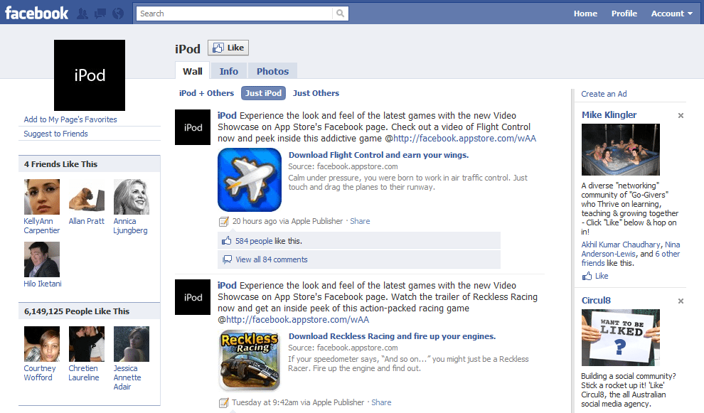 Facebook Page Top 10 Brand and Company iPod