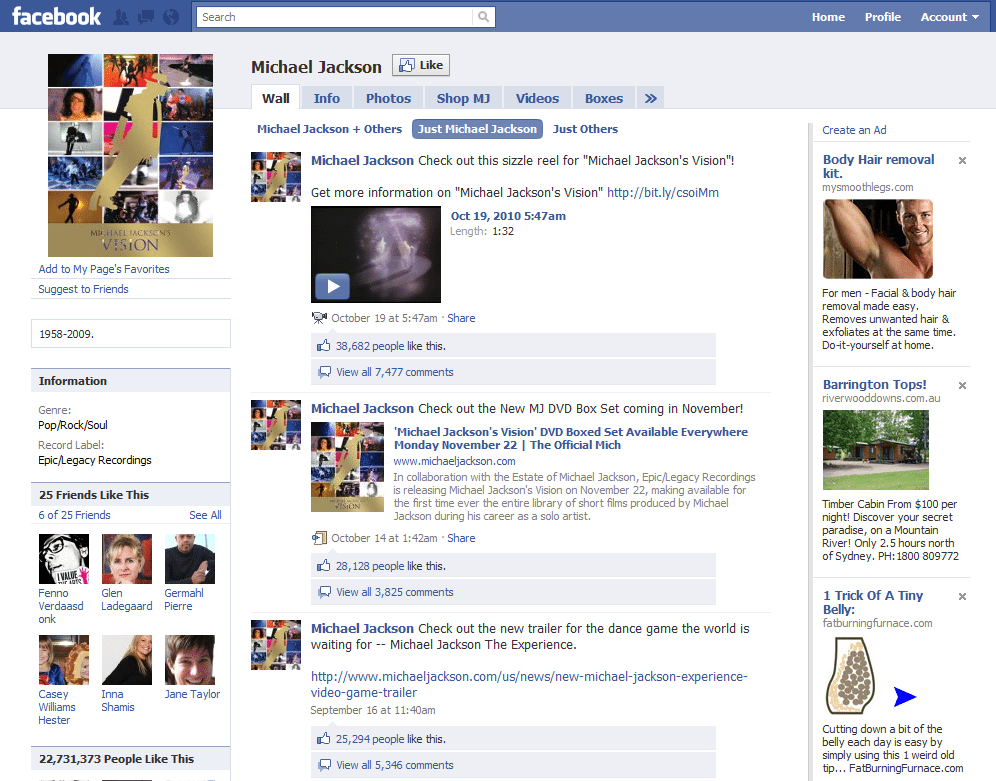 Facebook Page Three Michael Jackson