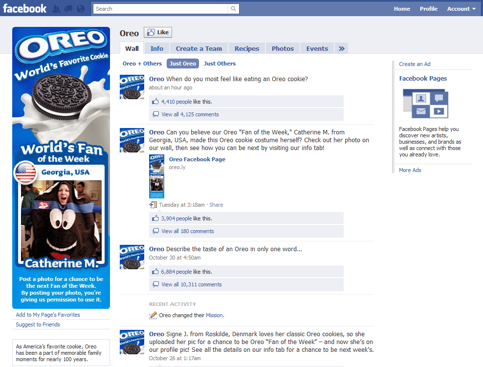 Facebook Top 10 Company and Brand Pages Oreo