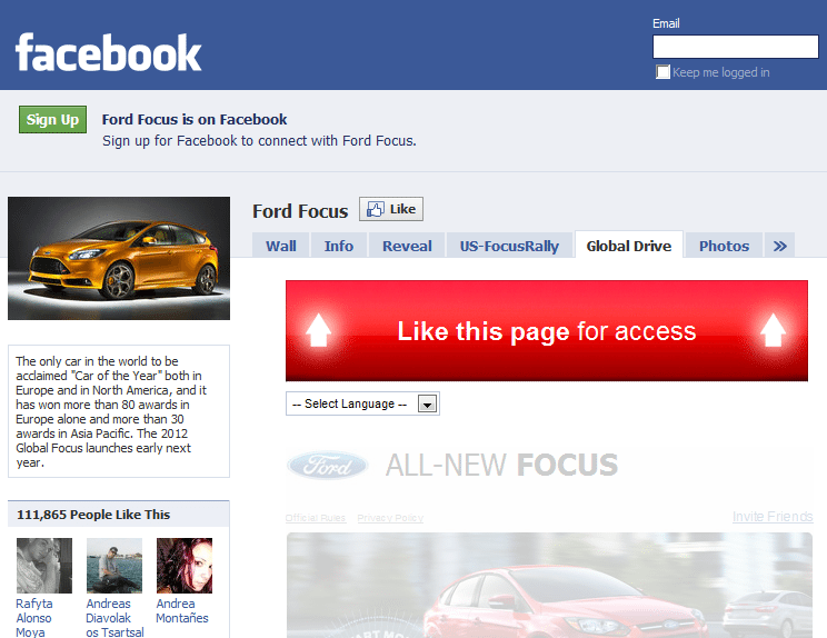 Ford Focus Facebook Like Tactic For New Visitors for its Global Social Media Marketing Campaign