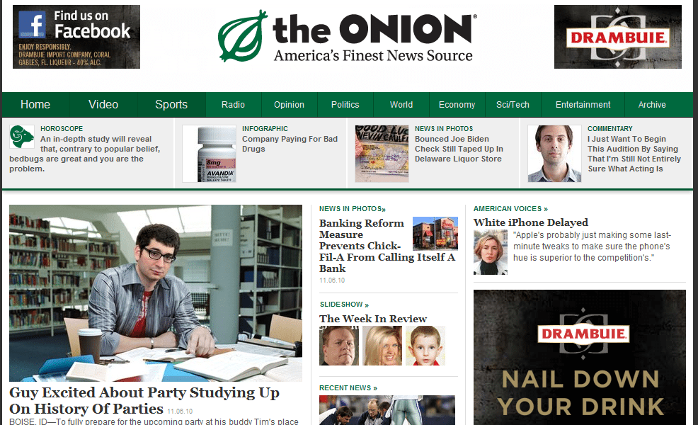 The Onion a satirical news blog