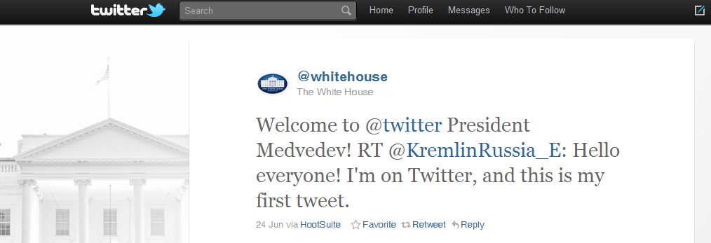 The 10 Most Powerful Tweets of 2010 Tweet 2 Whitehouse Obama