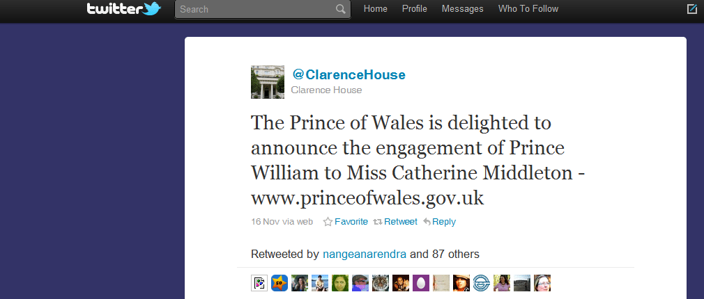 10 Most Powerful Tweets Of 2010 Tweet 6 Kate Middleton and Prince William