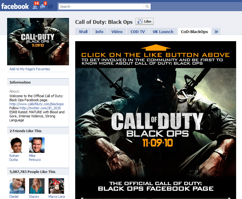 The Worlds 10 Fastest Growing Facebook Sites 3 Call Of Duty Black Ops
