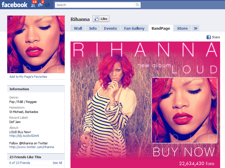 The Worlds 10 Fastest Growing Facebook Sites 4 Rihanna