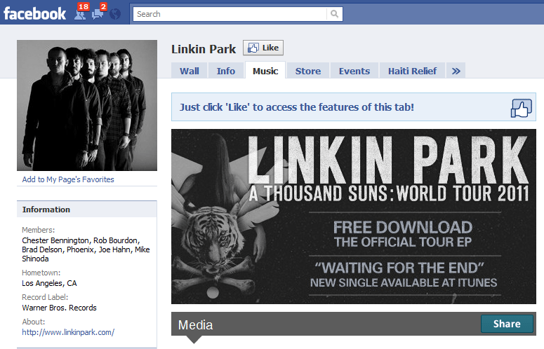 The Worlds 10 Fastest Growing Facebook Sites 9 Linkin Park