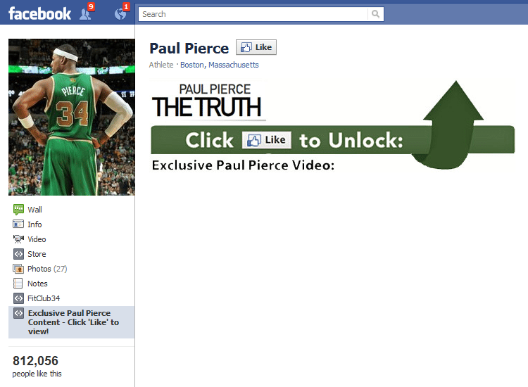 Facebook Pages example Paul Pierce like to unlock exclusive content