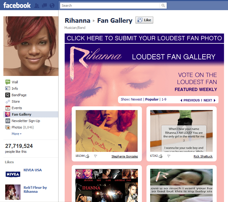 Top 10 Musicians Facebook 4 Rihanna