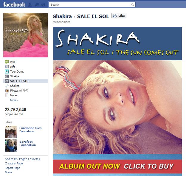 Top 10 Musicians Facebook 6 Shakira