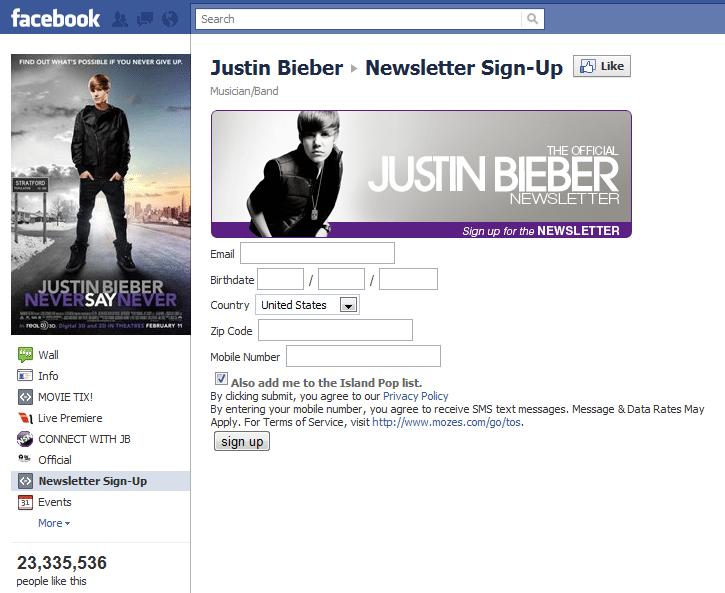 Top 10 Musicians Facebook 7 Justin Bieber