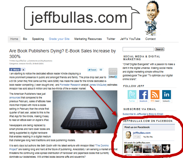 Jeffbullas.com Facebook social plugin