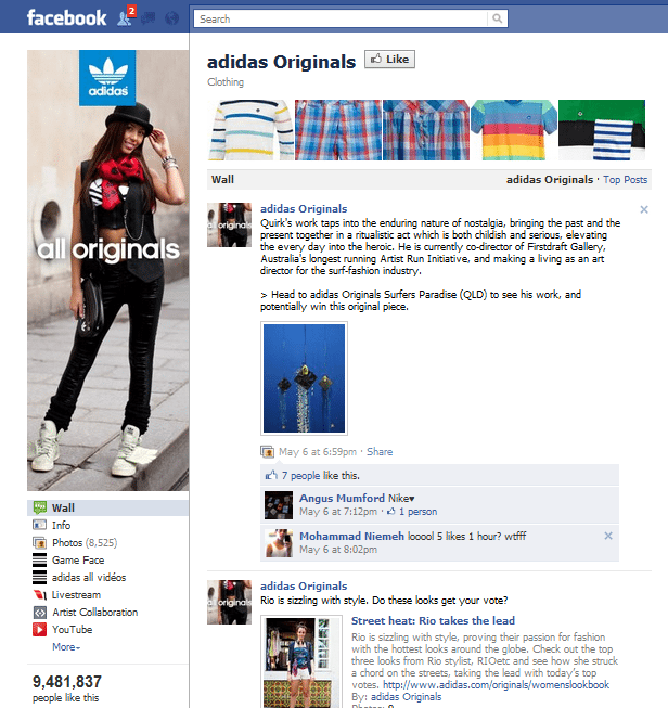 Adidas Originals Facebook Page