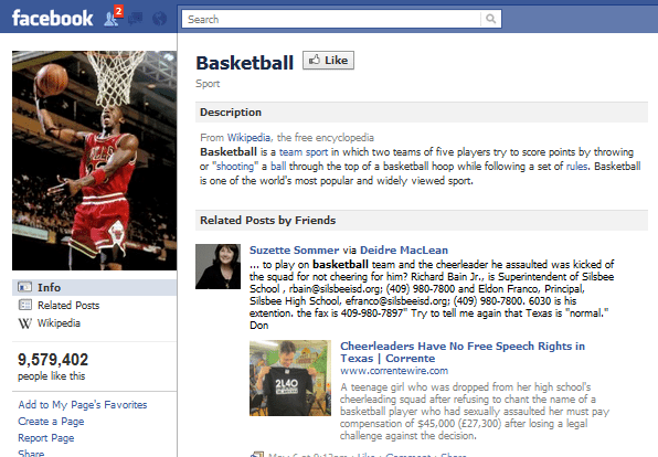 Basketball Facebook Page