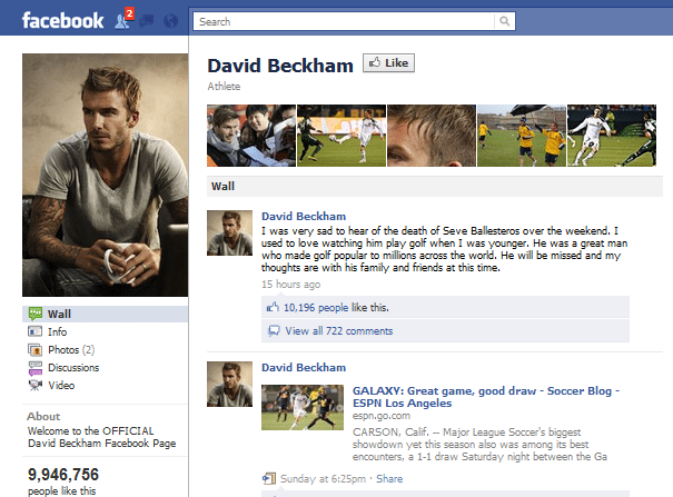 David Beckham Facebook page