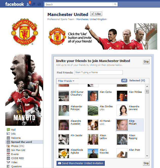 Manchester United Facebook Page
