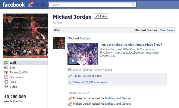 Michael Jordan Facebook Page