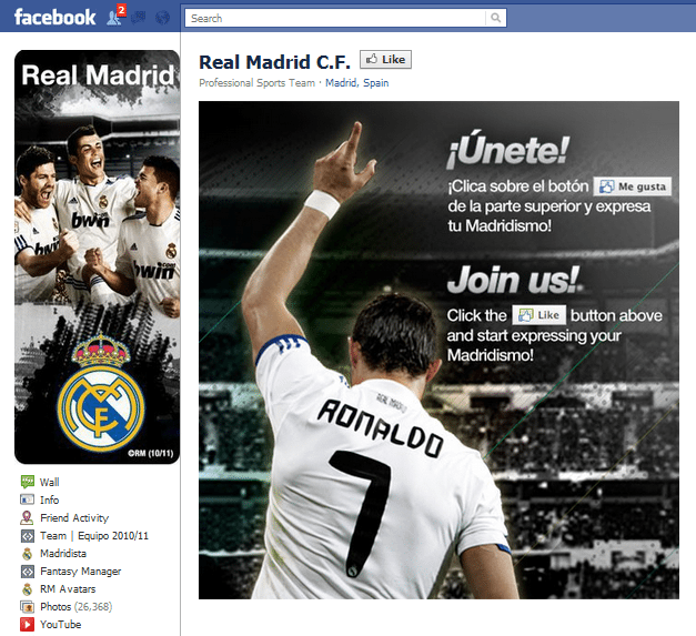 Real Madrid Facebook Page