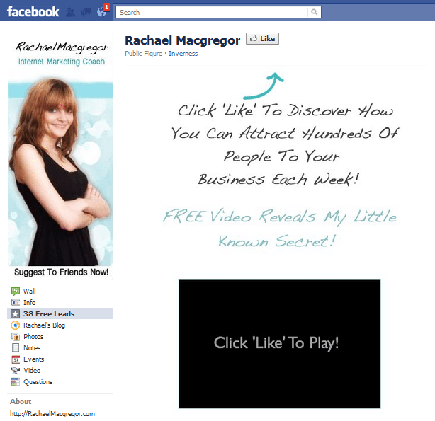 Call to action to like the Facebook page of Rachael Mcgregor