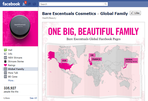 Bare Escentuals Facebook page