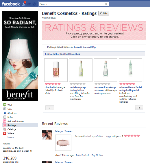 Benefit Cosmetics Facebook Page