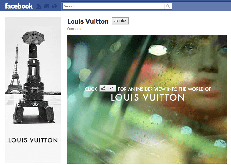 Louis Vitton Facebook Landing Page