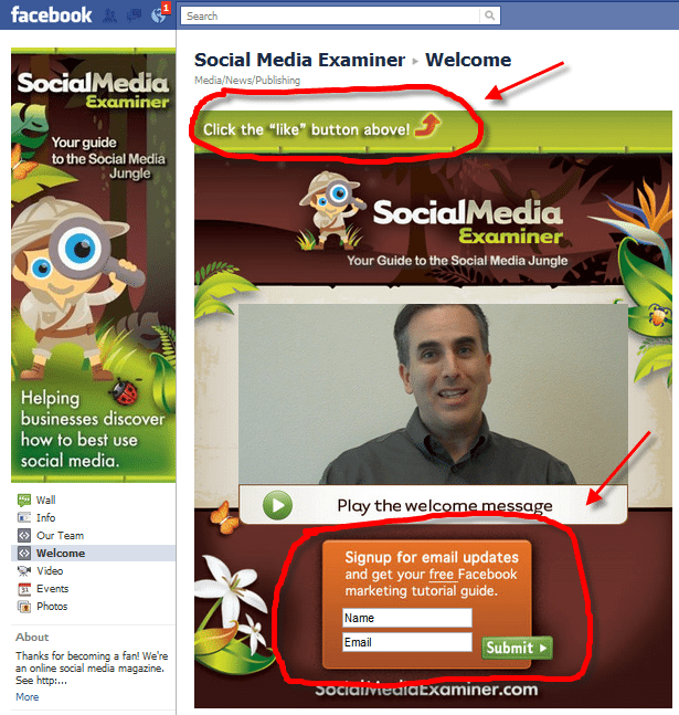SocialMedia Examiner Facebook Page showing 2 Call to Actions