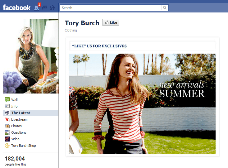 Tory Burch Facebook page