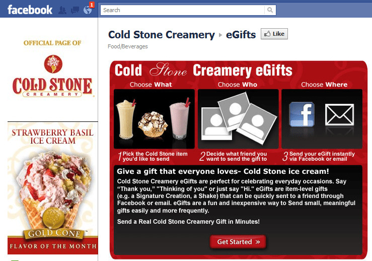 Cold Stone Creamery Facebook Page