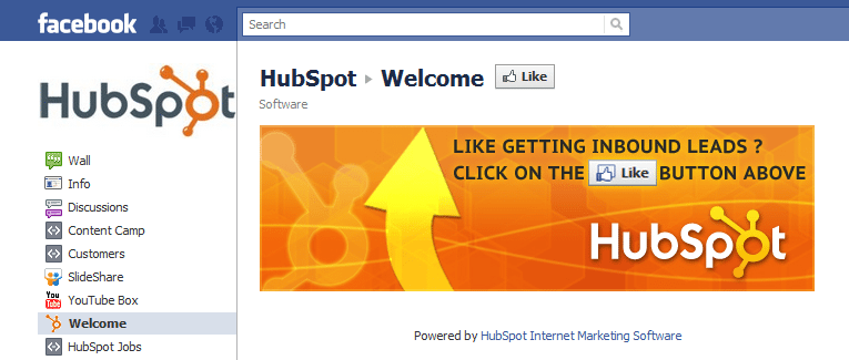 Hubspot Facebook page