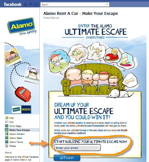 Alamo Rent a Car Facebook Page