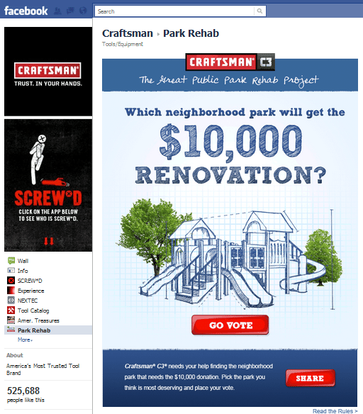 Craftsman Facebook Page Campaign