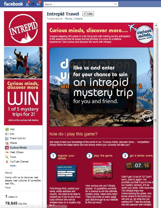 Intrepid travel Facebook Page
