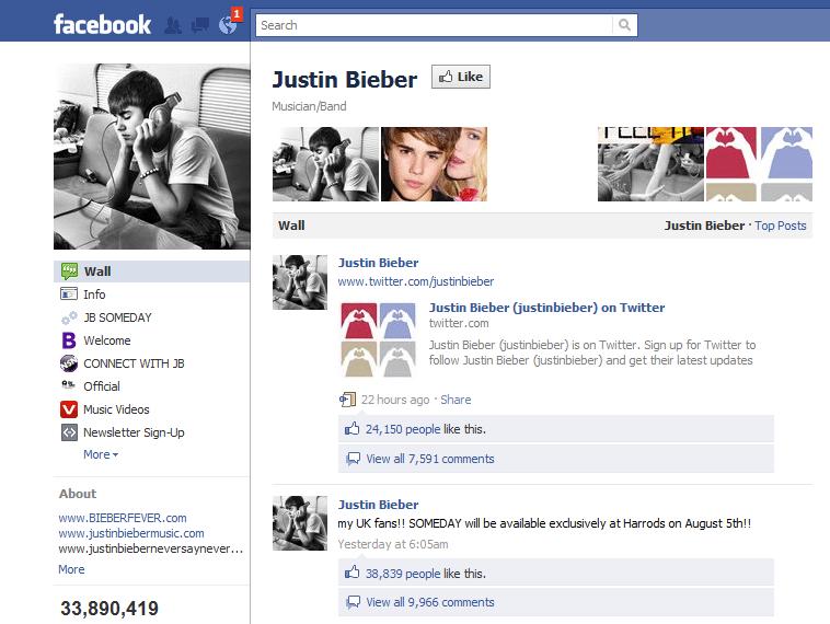 Justin Bieber Facebook Page