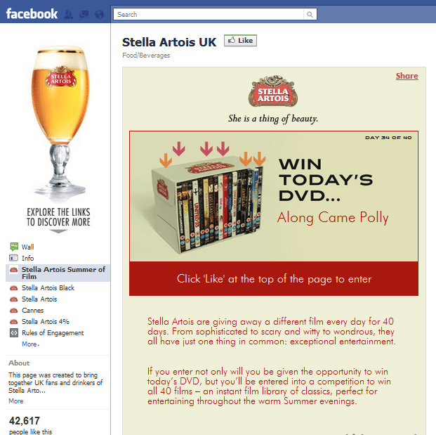 Stella Artois UK Facebook Page