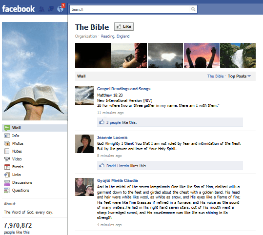 The Bible Facebook Page