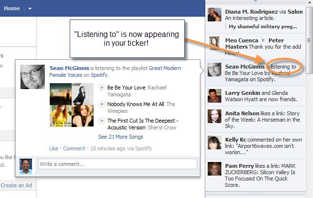 Facebook open graph and the new action word listen