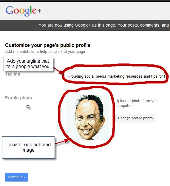 how to add a google+ brand page