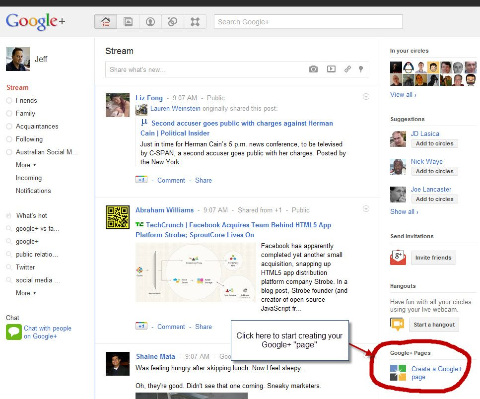 Google+ page setup step one