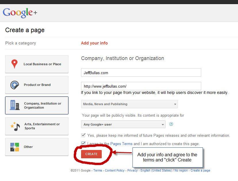 Google+ pages setup step 3