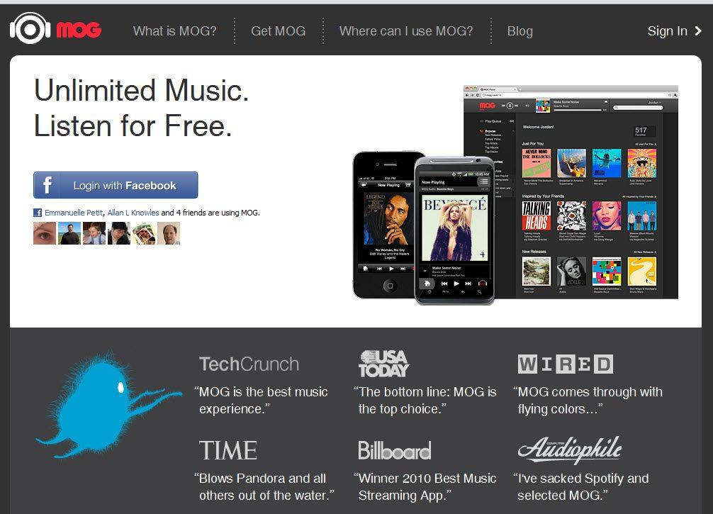 MOG social Facebook app