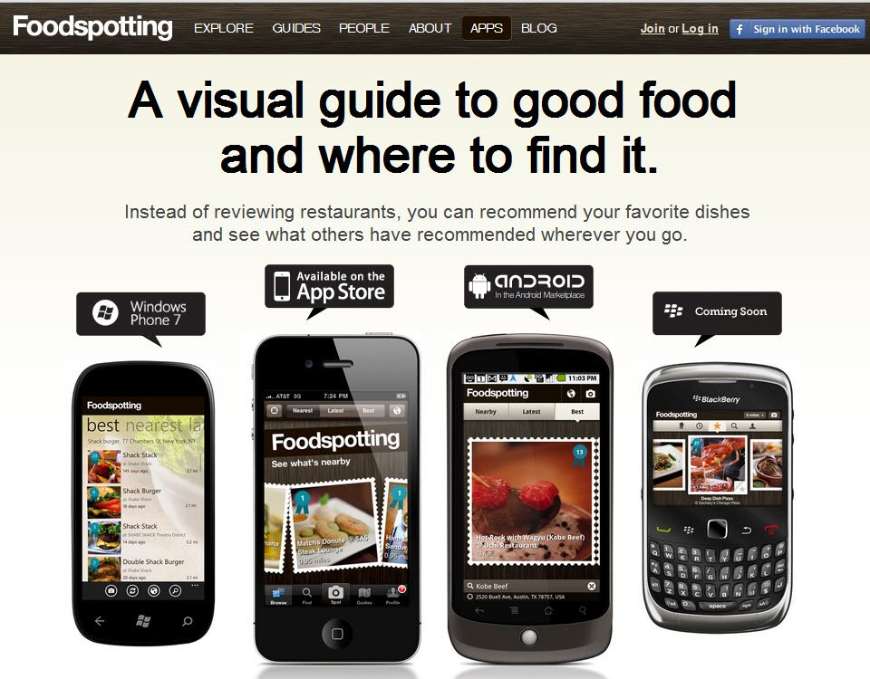 Mobile Facebook Foodspotting App